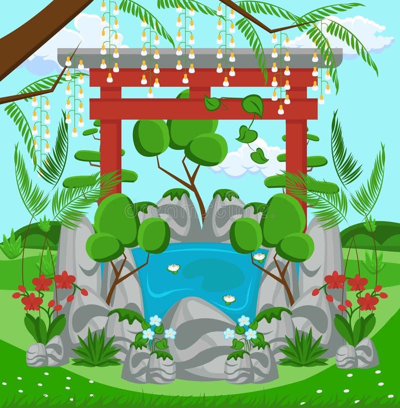 Het Concept van het landschapsontwerp Vector vlakke illustratie stock illustratie