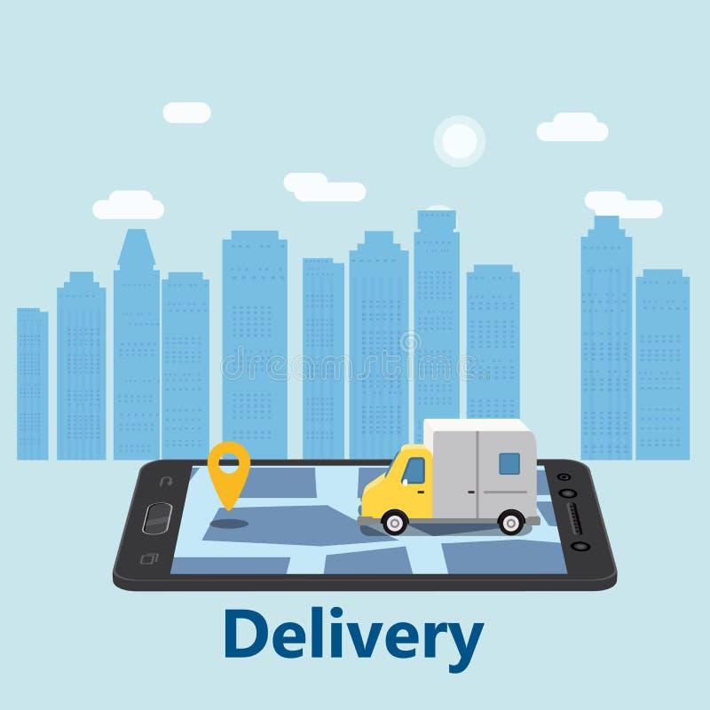 Het concept van leveringsvan express Het controleren van de leveringsdienst app bij het mobiele telefoon online volgen Snelle Lev stock illustratie