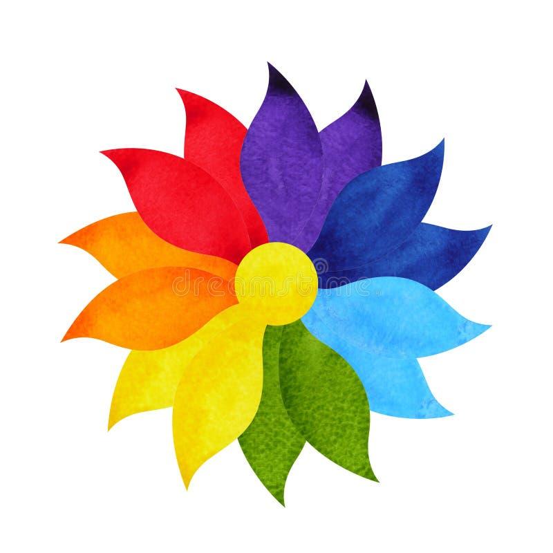 Het concept van het mandalasymbool van kleurenchakra, waterverf het schilderen pictogram, de tekening van de het tekenhand van he royalty-vrije illustratie