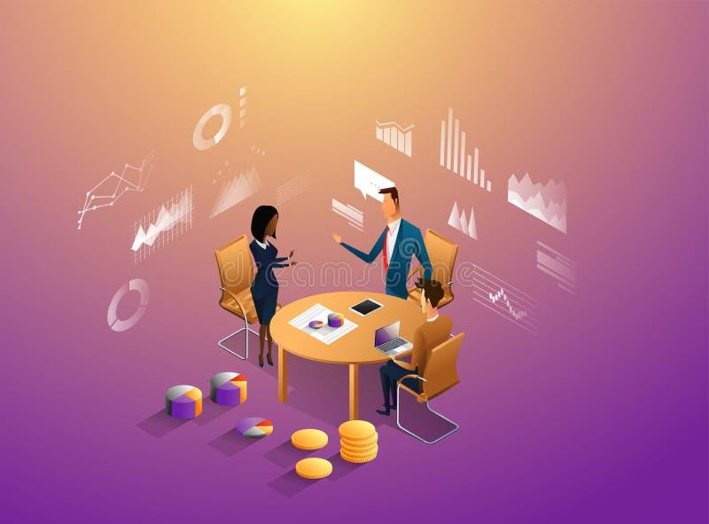 Het concept van het medewerkersbureau met karakters Freelancerconcept, coworking mensen, ceo bedrijfswerkruimte voor creatief stock illustratie