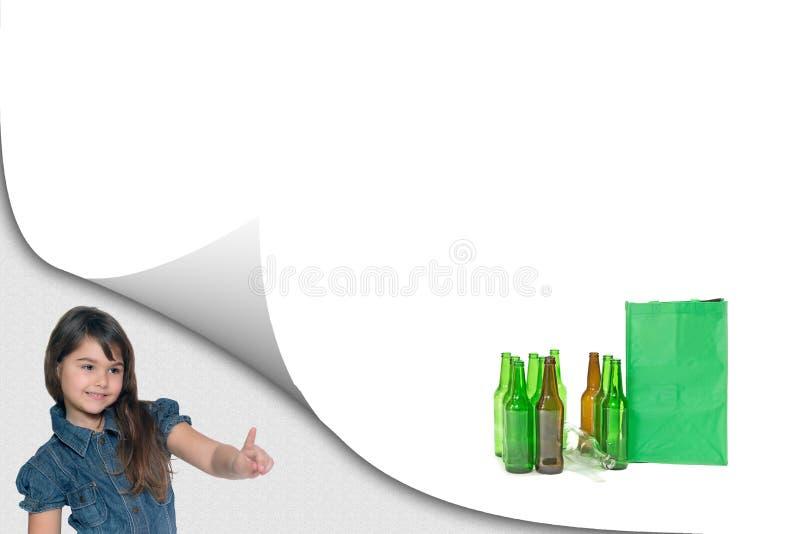 Het concept van het milieuonderwijs met meisje stock foto