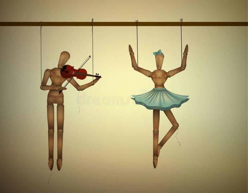 Het concept van het muziekduet, merionettes koppelt het één dansen en één violine spelen, vector illustratie