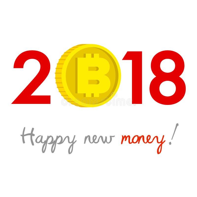 Het concept van nieuwjaar 2018 bitcoin royalty-vrije illustratie