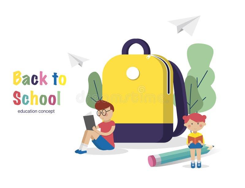Het concept van het onderwijs Schoolkind gelezen boeken dichtbij Schoolrugzak Terug naar de Achtergrond van de School (EPS+JPG) V stock illustratie