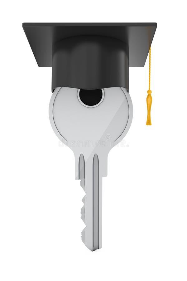 Het concept van het onderwijs Sleutel met Graduatiehoed het 3d teruggeven stock illustratie