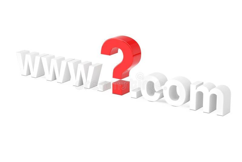 Het Concept van het Onderzoek van Internet WWW-Vraag Mark Com Site Name 3d ren royalty-vrije illustratie
