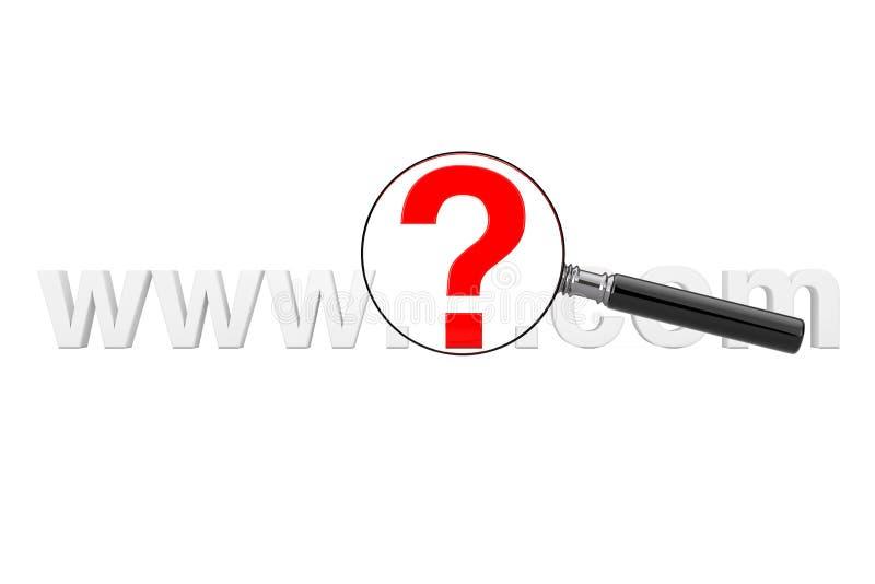 Het Concept van het Onderzoek van Internet WWW-Vraag Mark Com Site Name met Ma royalty-vrije illustratie