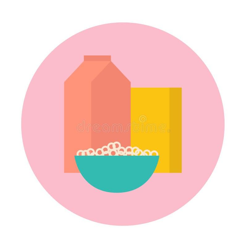 Het concept van het ontbijt graangewassen in de kom, doos van cornflakes, pak van melk stock illustratie