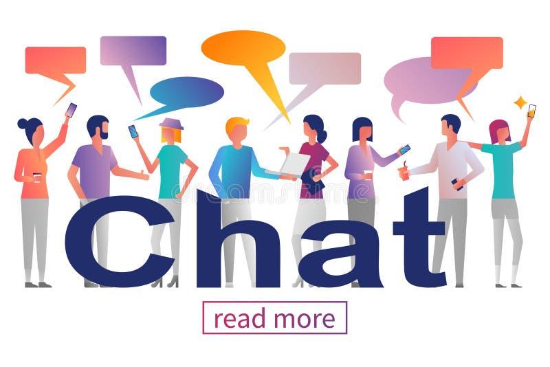 Het Concept van het praatje Groep jongeren met gadgets royalty-vrije illustratie