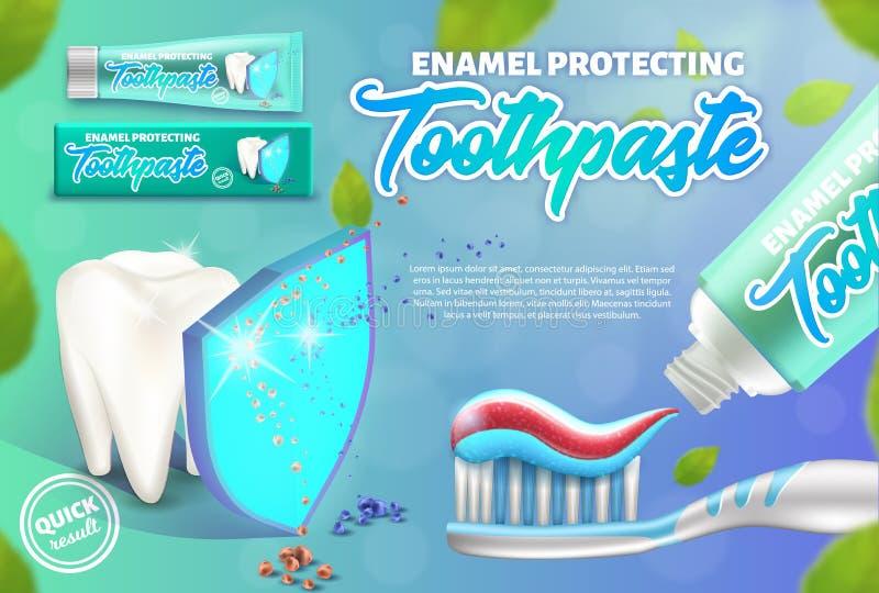 Het concept van het reclameontwerp het email die tandpasta beschermen Illustratie van tand onder het schild en de tandenborstel vector illustratie