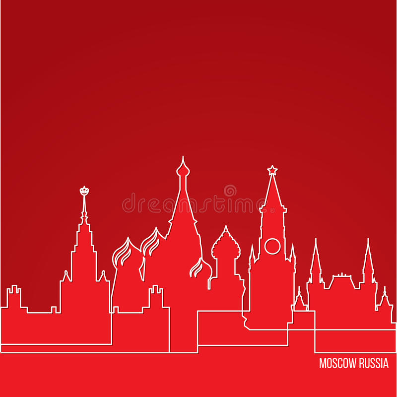 Het Concept van Rusland Moskou voor Webbanner Één lijnsamenstelling met grootste oriëntatiepunten Wit lineair pictogram op rode a vector illustratie