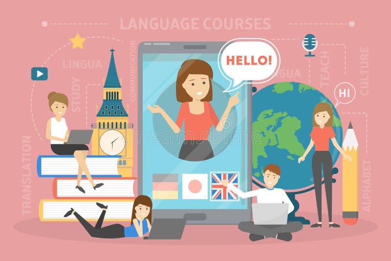 Het concept van taalcursussen Studie vreemde talen in school stock illustratie