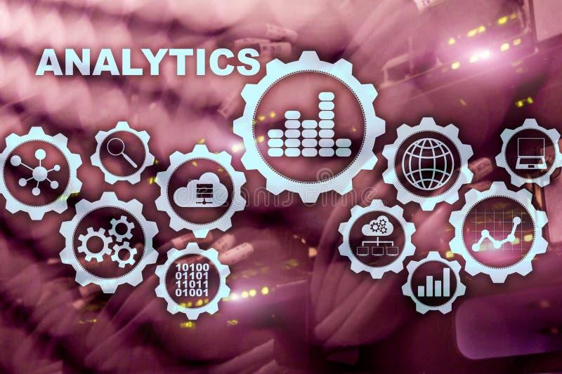 Het concept van technologieanalytics op het virtuele scherm De grote gegevens met grafiekpictogrammen over het digitaal scherm ze stock illustratie
