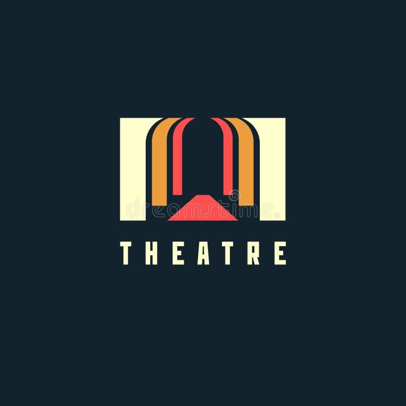Het concept van het theaterembleem - vectorillustratie Theater, museum, bank of academieembleem op donkere achtergrond stock illustratie