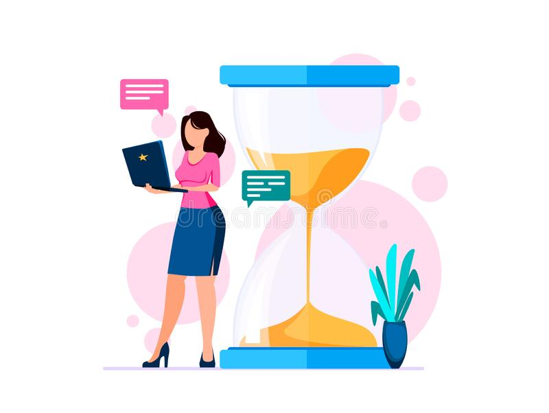 Het Concept van het tijdbeheer De vrouw met notitieboekje bevindt zich dichtbij grote zandloper stock illustratie