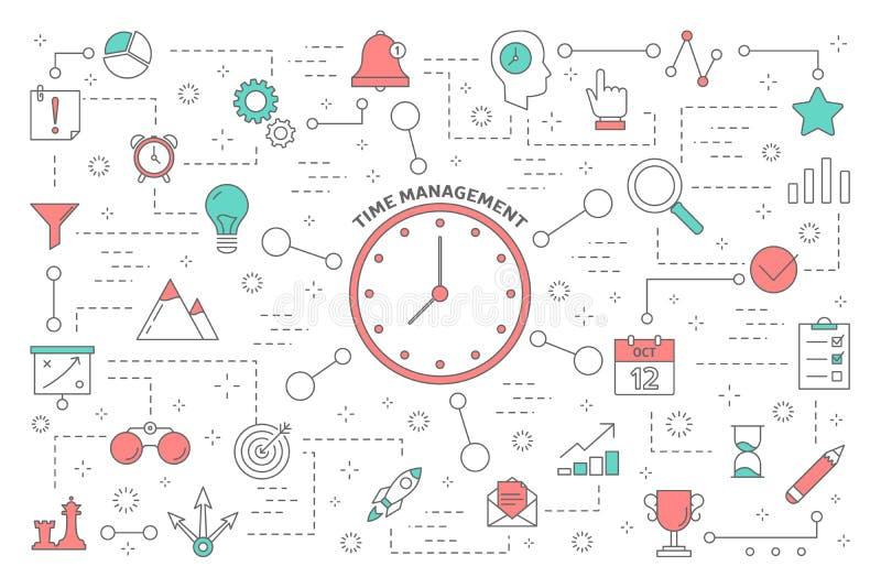 Het Concept van het tijdbeheer Idee van planning en organisatie vector illustratie