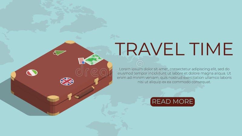 Het concept van het toerismemalplaatje in isometrische stijl royalty-vrije illustratie