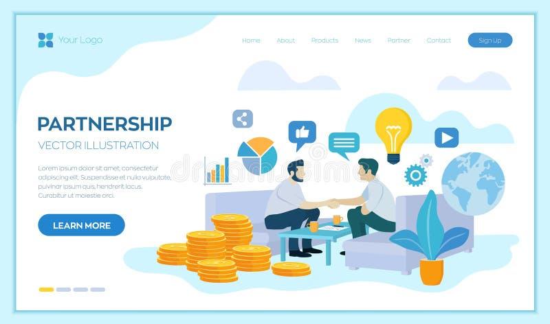 Het concept van het vennootschap financiering van creatieve projecten Handdruk van twee bedrijfsmensen Overeenkomst van partijen  vector illustratie