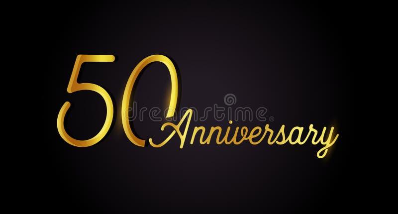 het concept van het 50 verjaardagsembleem het pictogram van de de 50ste jarenverjaardag Geïsoleerde gouden aantallen op zwarte ac royalty-vrije illustratie