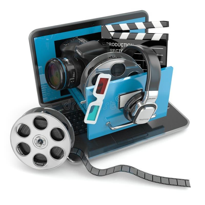 Het concept van verschillende media Laptop, camera, hoofdtelefoons en video attrib stock illustratie