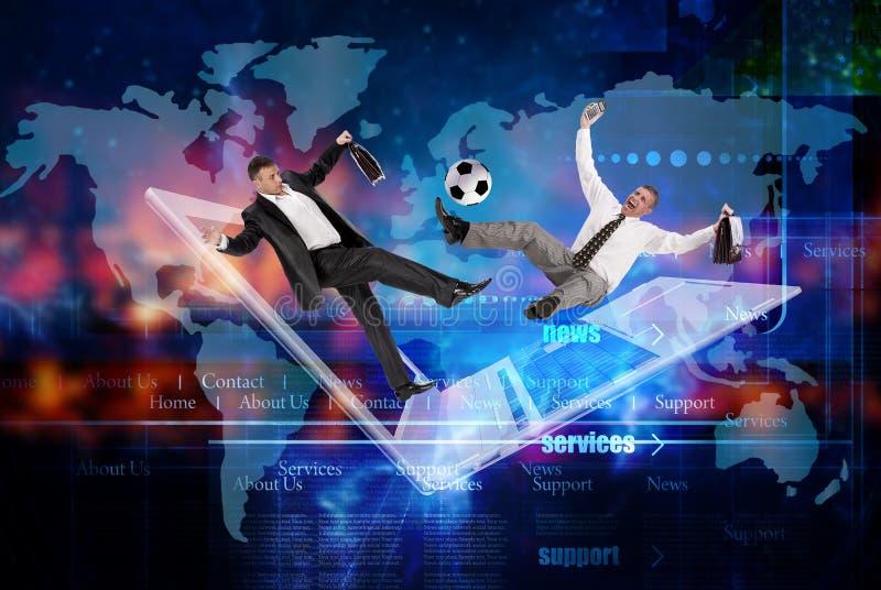 Het concept van het voetbalteam de industriesporten Internet-voorzien van een netwerkspelen royalty-vrije illustratie