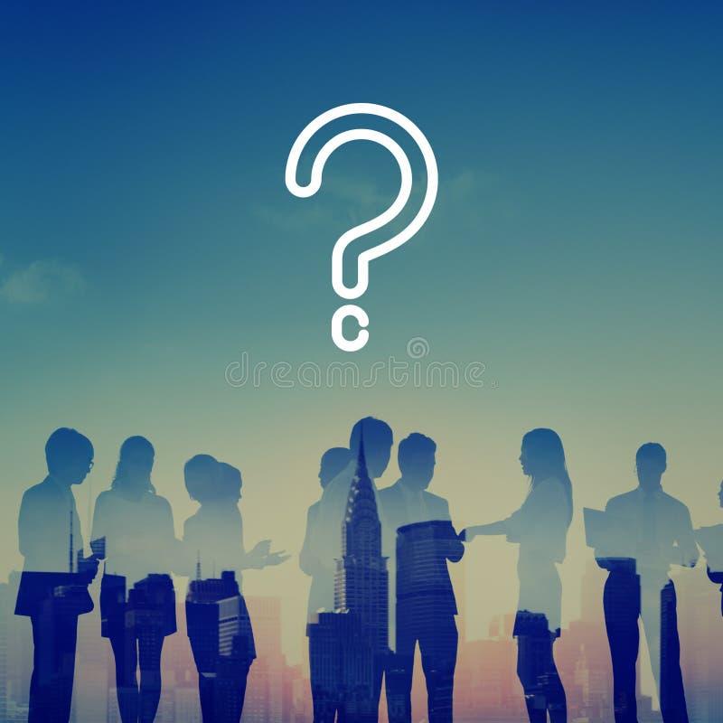 Het Concept van vraagmark asking confusion thought help FAQ stock afbeelding