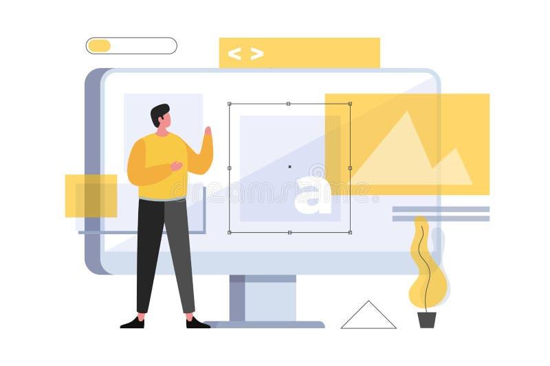 Het concept van het Webontwerp en websiteontwikkeling Een jonge beeldverhaalmens bevindt zich voor een computermonitor vector illustratie