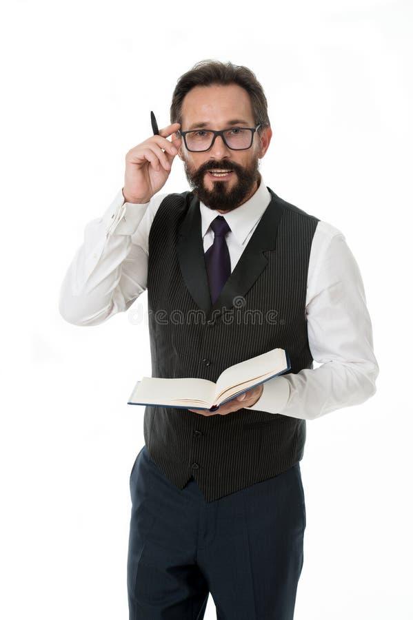 Het concept van het werk Gebaarde mens in glazennadruk op administratie De zakenman heeft bezige dag op het werk Het harde werk v stock afbeeldingen
