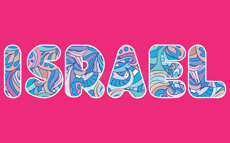 Het concept van woordenisraël in kleurrijke abstracte typografie wordt geschreven die vector illustratie