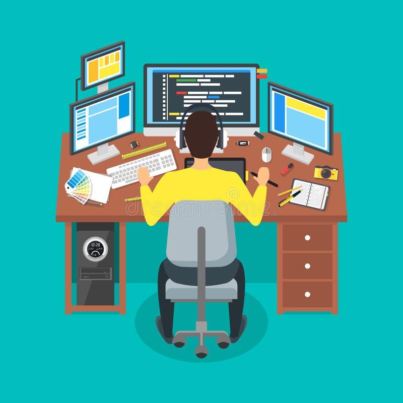 Het Concept van Writes Code Workspace van de beeldverhaalprogrammeur Vector stock illustratie