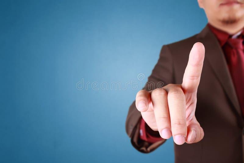Het Concept van zakenmanpressing virtual button royalty-vrije stock foto's