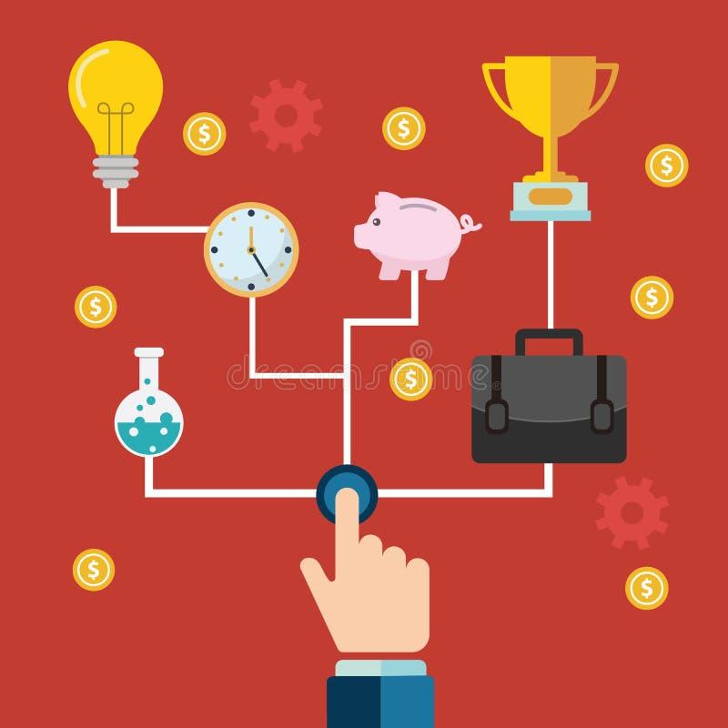 Het concept zaken en de ondernemerschapszaken beginnen of lanceren met toestellen en radertjes met diverse pictogrammen vector illustratie