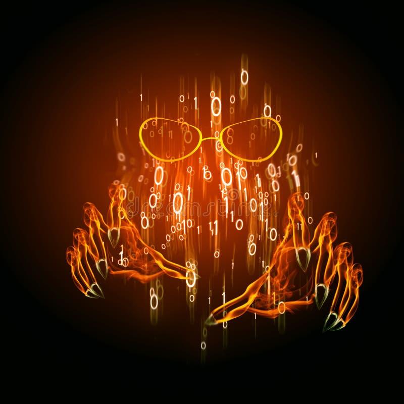 Het concepten digitale illustratie van de Cyberdief vector illustratie