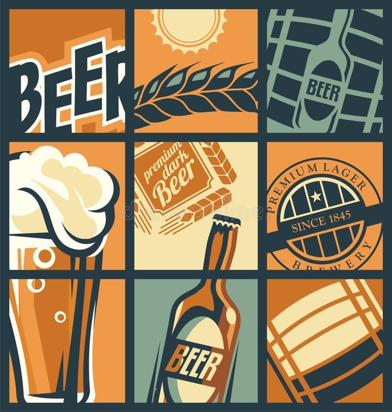 Het concepten grappige stijl van het biermenu royalty-vrije illustratie