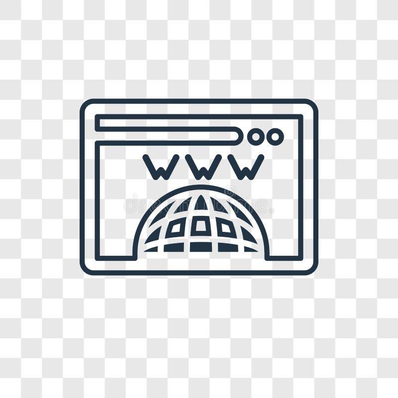 Het concepten vector lineair die pictogram van de domeinregistratie wordt geïsoleerd trans stock illustratie