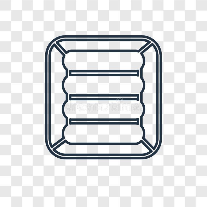 Het concepten vector lineair die pictogram van de luchtmatras op transparant wordt geïsoleerd stock illustratie