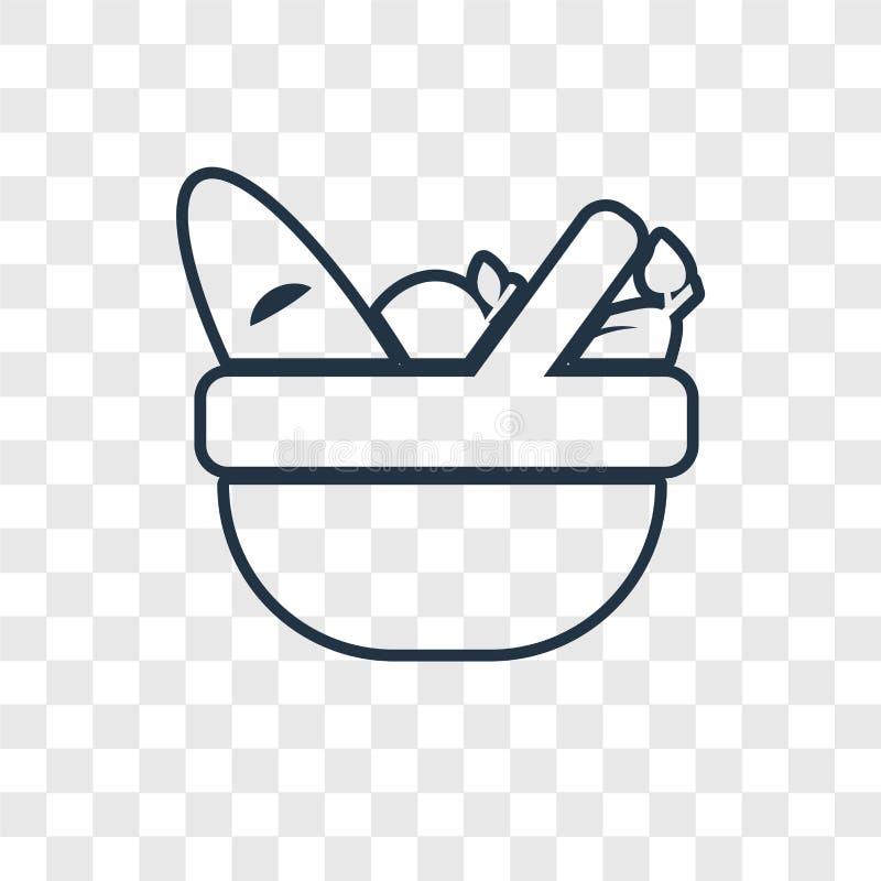 Het concepten vector lineair die pictogram van de picknickmand op transparant wordt geïsoleerd stock illustratie