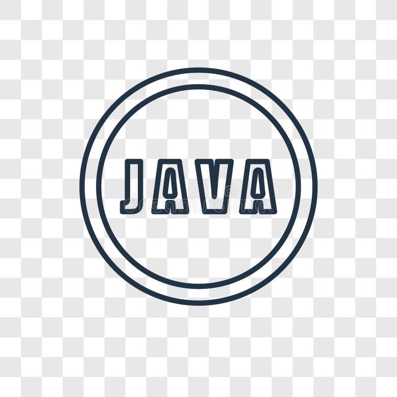 Het concepten vector lineair die pictogram van Java op transparante backgrou wordt geïsoleerd vector illustratie
