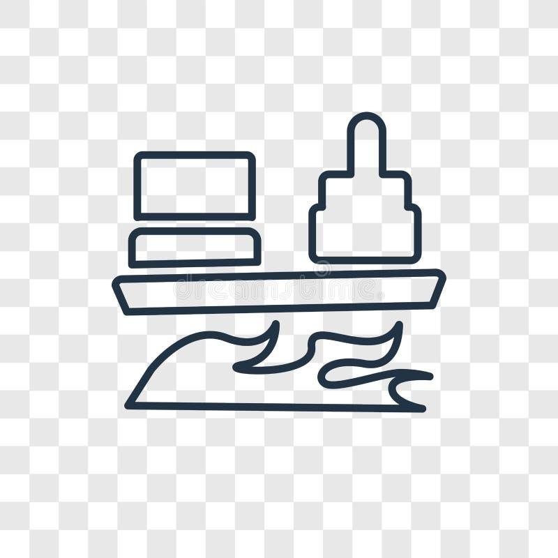 Het concepten vector lineair die pictogram van het tankerschip op transparante B wordt geïsoleerd vector illustratie