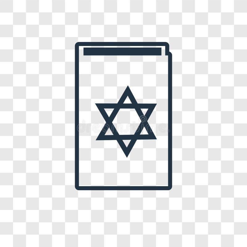 Het concepten vector lineair die pictogram van het Torahboek op transparante bedelaars wordt geïsoleerd vector illustratie