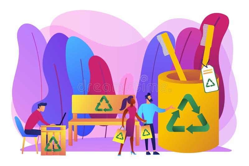 Het concepten vectorillustratie van afval vrije houten producten vector illustratie