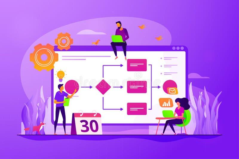 Het concepten vectorillustratie van het bedrijfsprocesbeheer stock illustratie