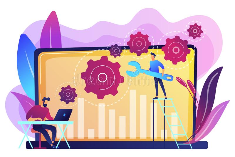 Het concepten vectorillustratie van het computeroplossen van problemen stock illustratie