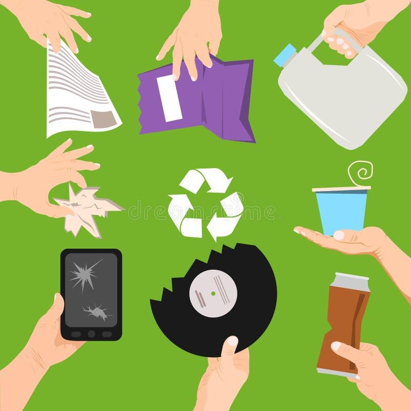 Het concepten vectorillustratie van de afvalaffiche Mensen die verschillende types van huisvuil houden Handen met afval zoals geb royalty-vrije illustratie