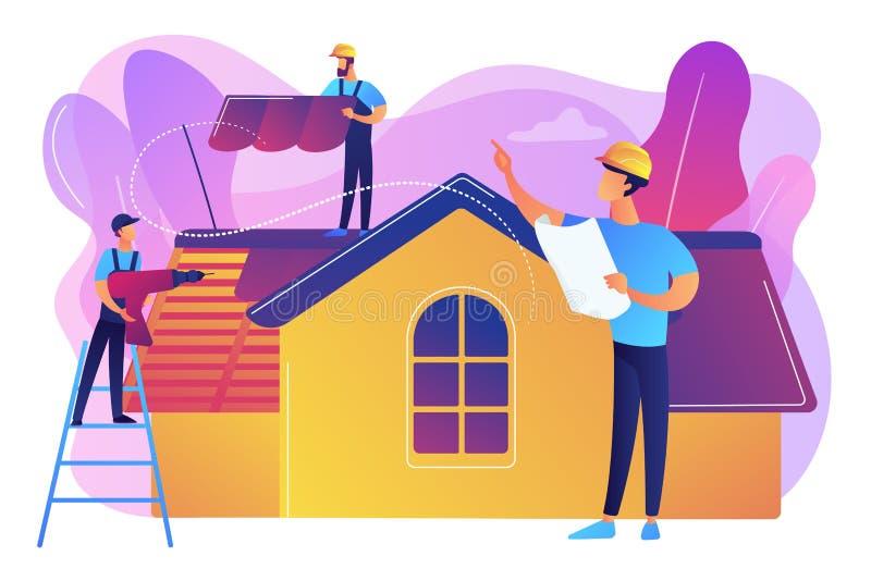 Het concepten vectorillustratie van de dakwerkdiensten royalty-vrije illustratie