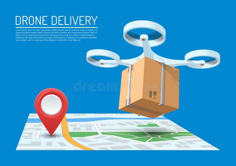 Het concepten vectorillustratie van de hommellevering Quadcopter die over een kaart vliegen en een pakket dragen vector illustratie