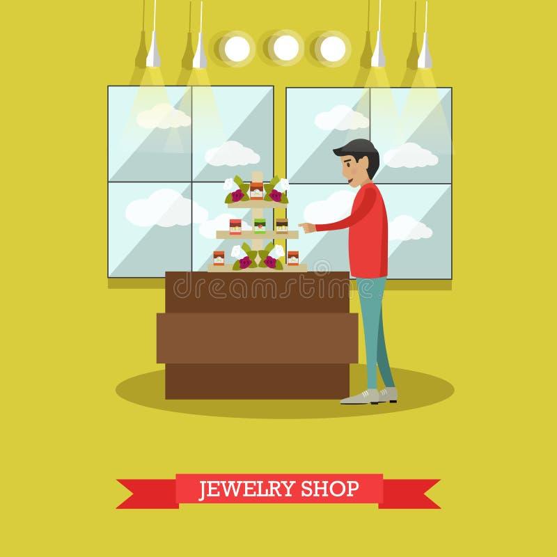 Het concepten vectorillustratie van de juwelenwinkel in vlakke stijl vector illustratie