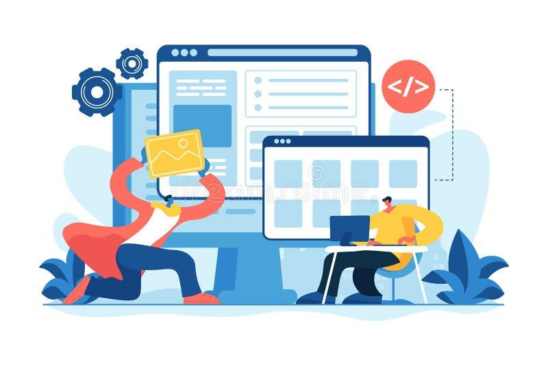 Het concepten vectorillustratie van de WEBontwikkeling vector illustratie