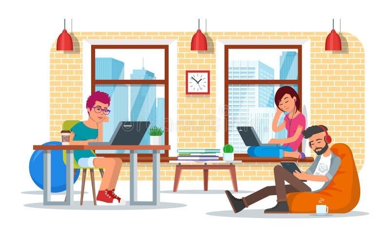 Het concepten vectorillustratie van het Coworkingscentrum, vlak stijlontwerp royalty-vrije illustratie