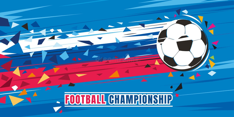 Het concepten vectorillustratie van het voetbalkampioenschap Vliegende voetbalbal met het Russische spoor van de vlagsnelheid vector illustratie